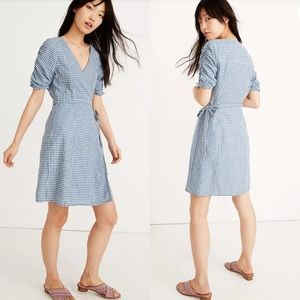 Madewell Gingham Shirred Puff Sleeved Wrap Dress